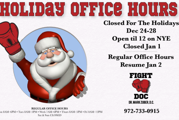 2018 holiday office hours Frisco sports chiropractor