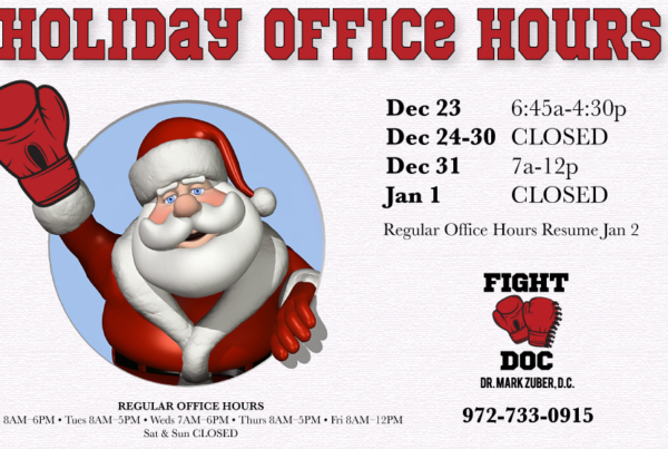 FightDoc Zuber Holiday Hours Frisco Sports Chiropractor